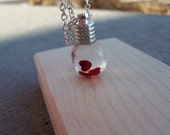 Jar of Hearts Necklace - Mothers Day Valentine's Day - Snowglobe Necklace
