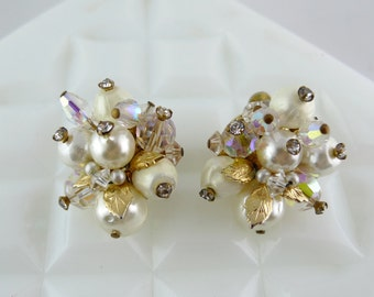 Vintage Vendome Pearl Cluster Earrings with AB Beads and Rhinestones - UC129