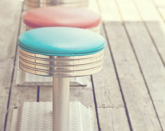 Boardwalk Stools - Whimsical Jersey Shore Art - Colorful Photograph of stools on the Boardwalk