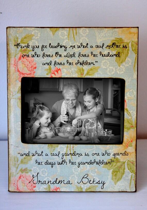 Grandmother, Grandma Frame, Nana, Mema, Oma, Gigi, Gift, Grams, Abuela, Vintage Chic Picture Frame Grandma Grandparents Grandkids 4x6  5x7