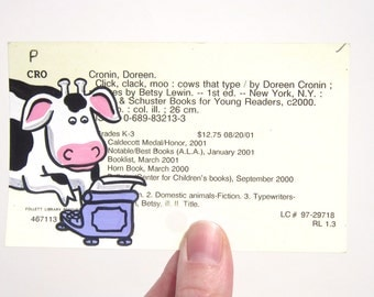 Click Clack Moo library card art - Print of my painting of a cow and typewriter on card for the book Click, Clack, Moo: Cows That Type