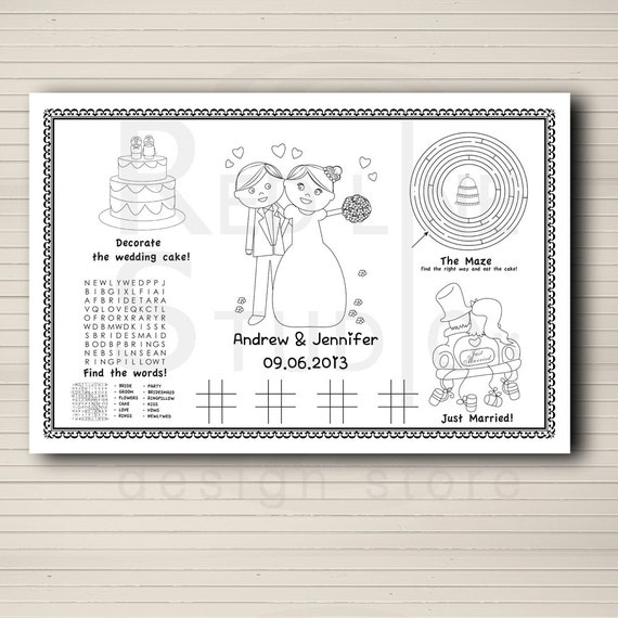 Wedding Favor For Kids Kids Activity Placemate Wedding