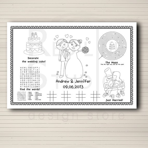 Wedding Ideas For Kids: Wedding Favor For Kids Kids Activity Placemate Wedding