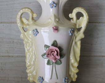 Vintage Nancy China Capodimonte Style Vase - Large Size - Porcelain - Shabby Chic - Retro 1950s - Home Decor - Collectibles - Cottage Chic