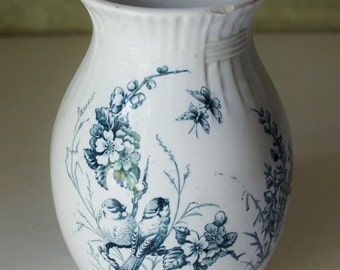 Vintage Mesange KC Luneville Vase - France - Blue & White - French Country - Collectibles - Shabby Chic - Home Decor