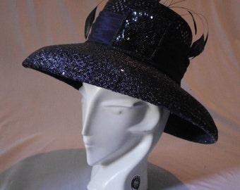 vintage 60's Large Brimmed vintage Blue hat with feathers