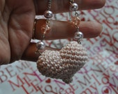 Heart necklace - Blush pink crochet puffy heart necklace with beaded chain