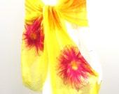 Silk Wrap Nuno Felted Flowers Sunshine Yellow Summer Scarf Shawl Stole Textile Art