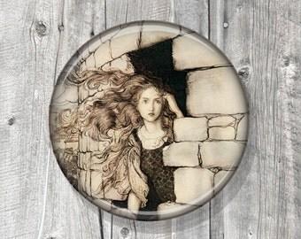 Pocket Mirror - Photo Mirror - Rackham - Romantic - Compact Mirror Vintage Illustration - gift under 5 - party favor A64