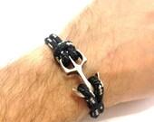 Mens Bracelet, Anchor Bracelet, Rope Bracelet, Nautical Bracelet, Womens Bracelet, Mens Gift, Mens Jewelry, Gift for Him, Boyfriend Gift