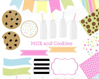 INSTANT DOWNLOAD,  milk and cookie clipart and digital paper for personal and commercial use