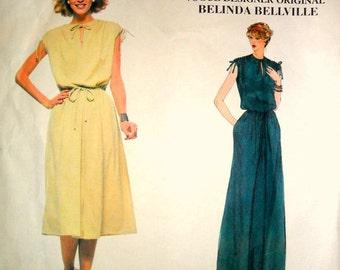 Misses Dress Evening Dress Maxi Dress Vintage Vogue 1928 Designer Belinda Belleville Size 12