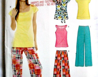 Misses Knit Tops and Pants in Two Lengths Sewing Pattern New Look 6787 Size 8 - 18
