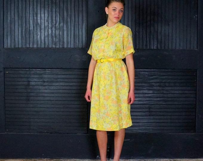 1950s Dress Floral Shirtwaist SMALL MEDIUM 50s Yellow Cotton Day Dress Peach Sage Green Goldenrod Flower Print Short Sleeves Avalon Classics