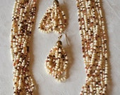 Multi Strand Beaded Necklace and Earring Set