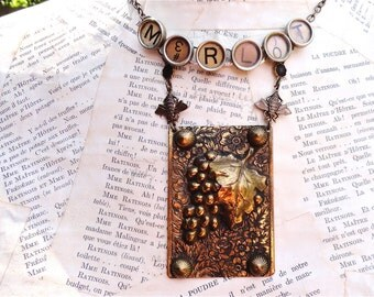 MERLOT Necklace Wine Lover Theme Typewriter Keys Brass Grapes Bees Owl Charms
