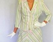 Vintage Skirt Jacket Set 80s Pastel Striped Coordi--nates Size Medium. Mad Men Fashion. White Pink Green. Summer