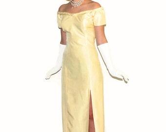 60s Maxi Off the Shoulder Sheath  Dress in Soft Yellow. Prom dress.  Formal Dress. Wedding. Mad Men Fashion. Evening Dress