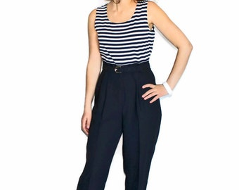 80s one piece jumpsuit. Black white stripes top. Black pants. Petite. John Roberts. Nautical. Beach Outfit. Vacation. Summer Fashion.