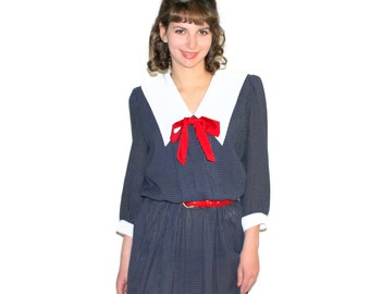 80s Dark Blue Secretary Dress. Mad Men  Fashion. Vintage Navy Blue with White Checked Dress. Pleated Dress. Red Bow. Twee Dress.
