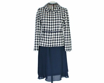 Vintage 2 Piece Skirt Set by Jessica Howard 80s Navy Blue White Houndtooth Jacket Blue Layered Skirt Coordinates. Office Suit.
