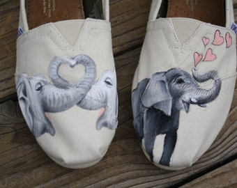 Elephant Hand Painted TOMS Shoes