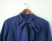 Vintage Blue Swiss Dot Bow Tie Neck Blouse extra small