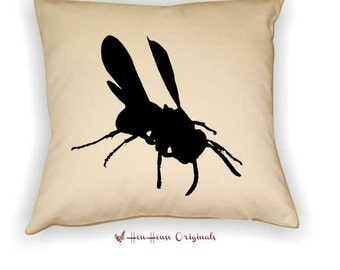 Fly Silhouette Bug Pillow Cover Envelope closure