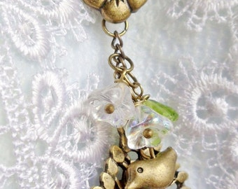 Tree of life bronze necklace with trumpet beads and bronze charms