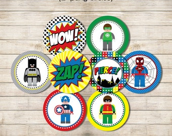 "Printable 2"" Party Circles - Superhero Building Block"