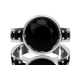 Black Spinel ring, white gold, engagement ring, spinel engagement, black, gothic, solitaire, bezel, unique, black diamond alternative