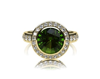 Peridot ring, diamond, engagement ring, halo, green engagement, peridot, diamond ring, halo engagement, bezel, yellow gold, rose gold ring