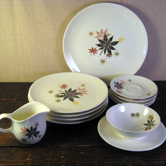 Mid Century Modern Shenango China Peter Terris Calico Leaves
