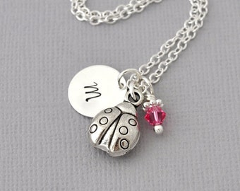 Initial Necklace Silver ladybug Charm Personalized Initial Necklace cute 3D lady bug monogram birthstone necklace