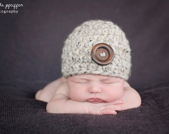 Newborn Hat Newborn Baby Boy Hat Newborn Baby Girl Hat Newborn Baby Hat Newborn Hospital Hat Newborn Photo Prop Oatmeal Baby Hat Wood Button