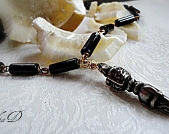 Mens Gemstones Necklace, ANGEL STONE ONYX, Dorje Buddhism Pendant,  Black Onyx Necklace, Nepalese Dorje Amulet Pendant Necklace