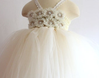 On Sales Ivory tutu dress Flower Girl Dress baby dress toddler birthday dress wedding dress 2T 3T 4T 5T 6T