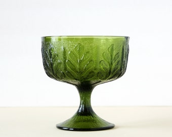 Green Glass Footed Pedestal Dish or Vase - FTD 1978