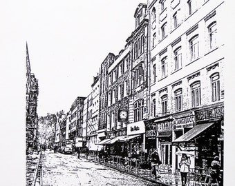London - Soho in the Snow, Bar Italia - limited edition screenprint