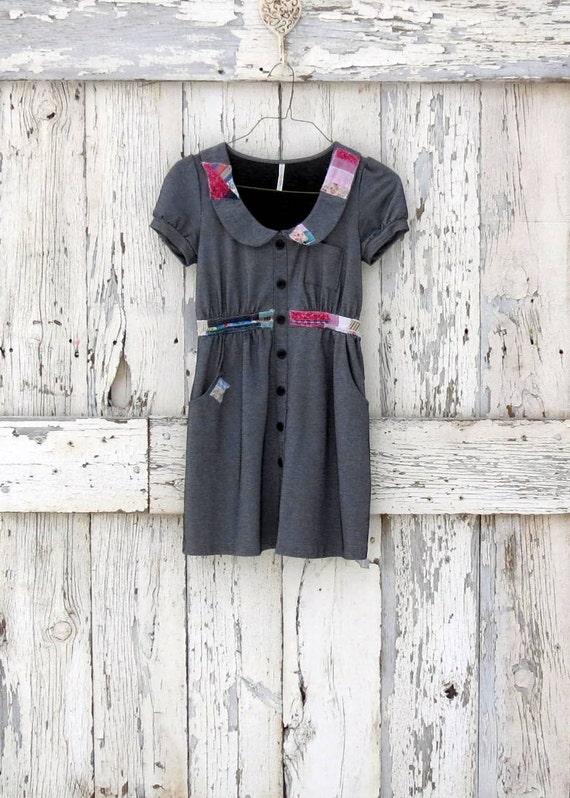 Patchwork-Pie Cutie-Pie Dress upcycled patchwork boho mini dress eco friendly blue denim dress