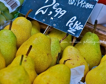 Pears in Paris,Photography,multiple sizes available,Fruit,Green, Poires,French,Home Decor,Colorful,Kitchen Decor