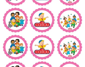 Caillou Theme Inspired Digital Favor Tags in Red or Pink /Cupcake Topper