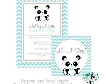 Its a Boy Baby Panda Teal Chevron Baby Shower Invitation & Tag Set- DIY Printable File