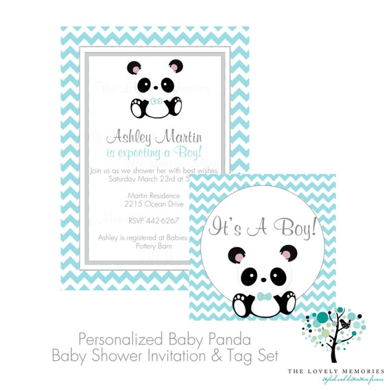 Its a boy baby panda teal chevron baby shower invitation tag set il570xn filmwisefo