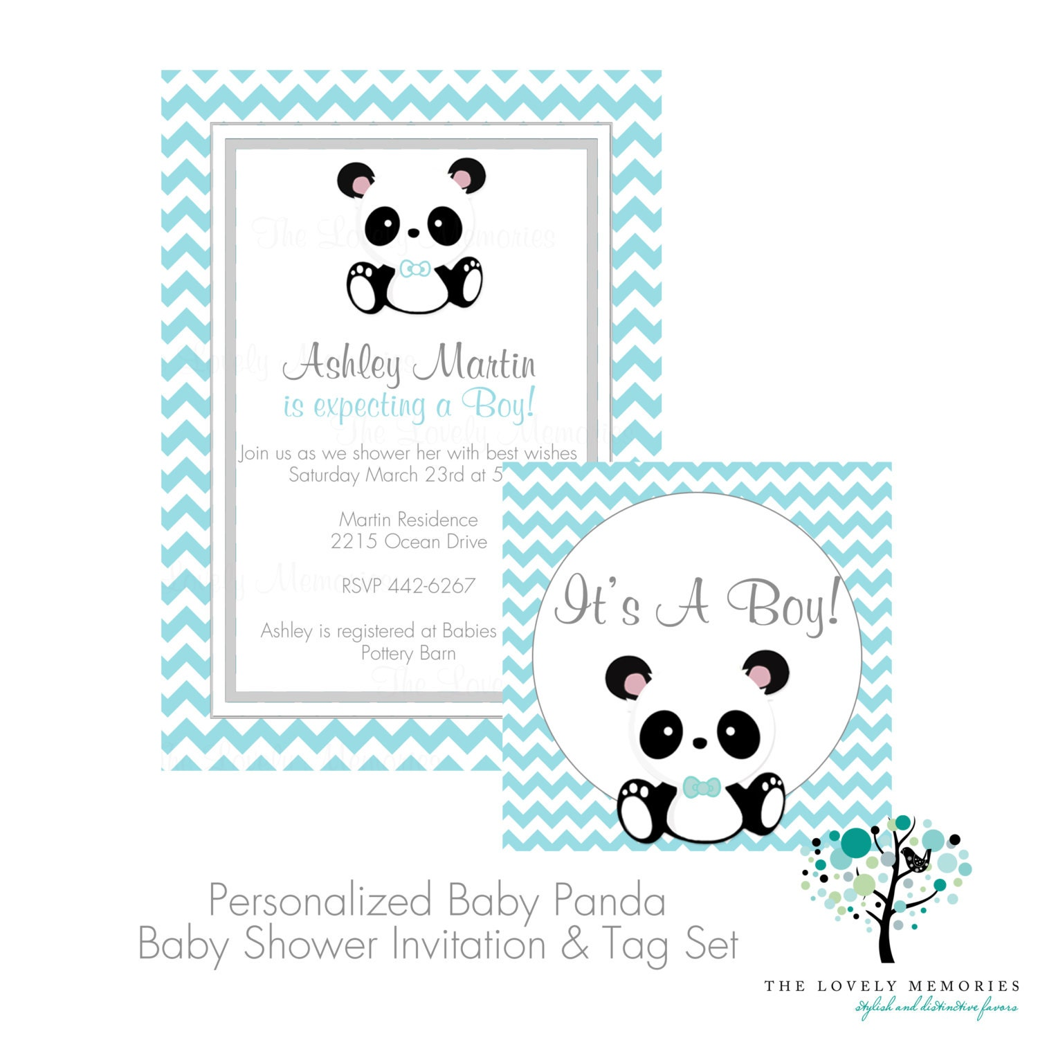 its a boy baby panda teal chevron baby shower by thelovelymemories
