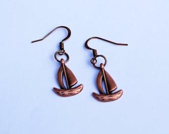 Sailboat Earrings, Nautical Earrings, Copper Sailboat Earrings, Little Sailboat Earrings, Red Copper Sailboat Earrings, Nautical Jewelry