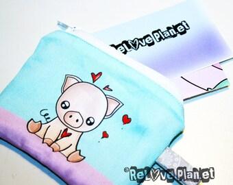 Piggy Pig Mini Zipper Purse Pouch - Coin Wallet - Veg vegan cute kawaii - ReLove Plan.et