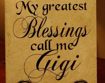 My Greatest Blessings Call Me Gigi Vinyl Art Decorative Tile