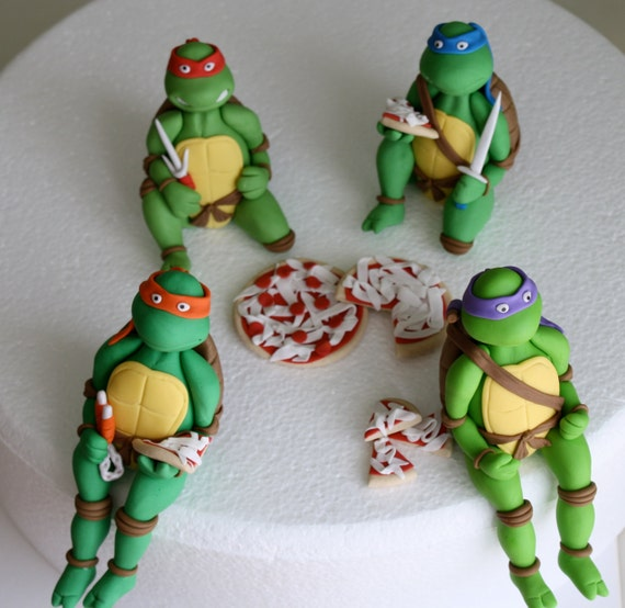 Fondant TMNT Cake Topper 4Figure Set by KimSeeEun on Etsy