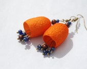Earrings- silk cocoon hand dyed  spring  blue brown orange - AnnaWegg